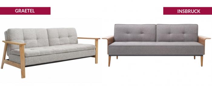 Canapés lits bois et tissu